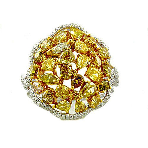 Real 4.01ct Natural Fancy Intense Yellow Diamonds Engagement Ring 18K Solid Gold