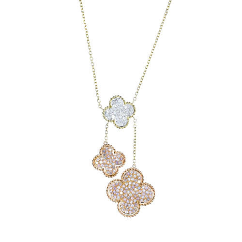 2.28ct Fancy Pink Diamonds Necklace 18K All Natural 9G Real Rose Gold Flowers