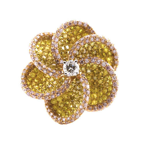 3.63ct Natural Fancy Vivid Yellow & Pink Diamonds Engagement Ring 18K Solid Gold