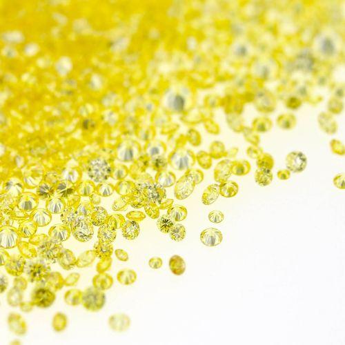 Natural Fancy Intense Yellow 0.01 ct to 0.08 ct Round cut Diamonds Parcel Melles