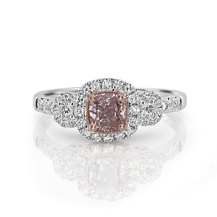 Real 0.94ct Natural Fancy Pink Diamond Engagement Ring 18K Solid Gold Cushion
