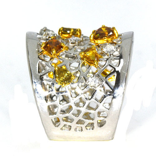Real 2.02ct Natural Fancy Yellow Diamonds Engagement Ring 18K Solid Gold Mix