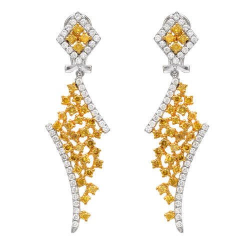 Real 4.47ct Fancy Yellow Diamonds Earrings 18K Solid Gold All Natural Cluster