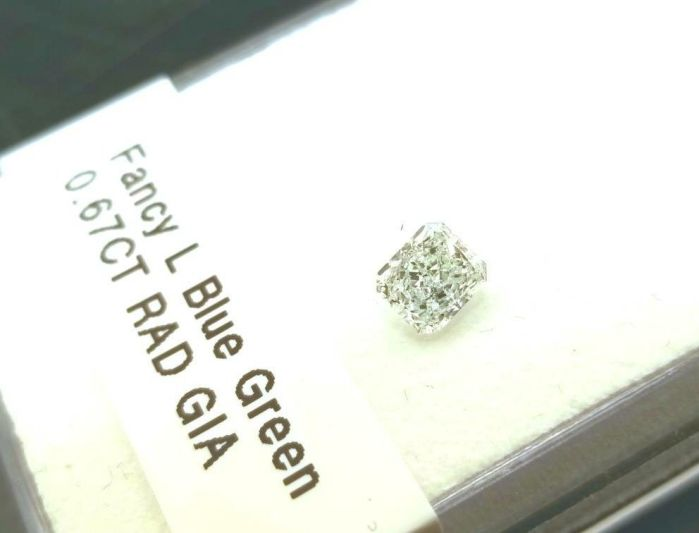 0.67ct Green Diamond - Natural Loose Fancy Light Blue Green GIA Radiant SI1