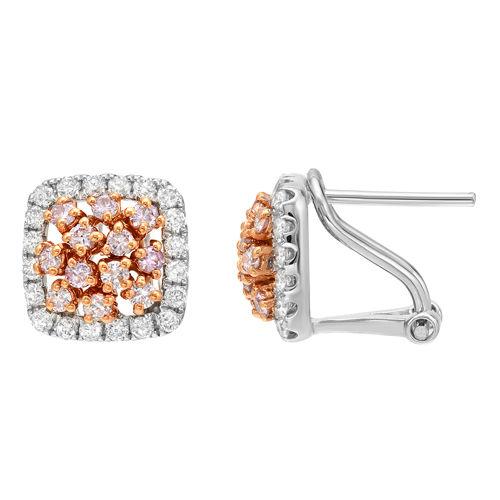 0.91ct Fancy Intense Pink Diamonds Earrings 18K All Natural 4 Grams White Gold