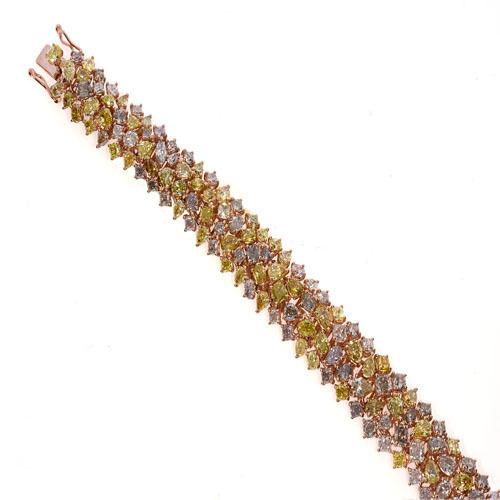 Pink Diamonds - Bracelet 24.5ct Natural Fancy Pink Yellow Mix Color 18K 49 Grams