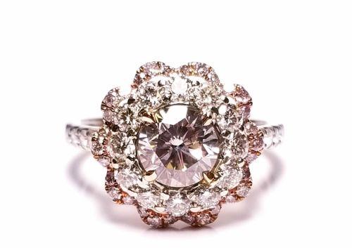 2.35ct Natural Fancy Light Pink Diamond Engagement Ring GIA 18K White Gold Round