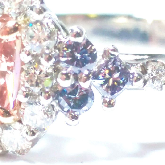 Platinum Engagement Ring 1.30ct Natural Fancy Intense Pink And ARGYLE Blue GIA