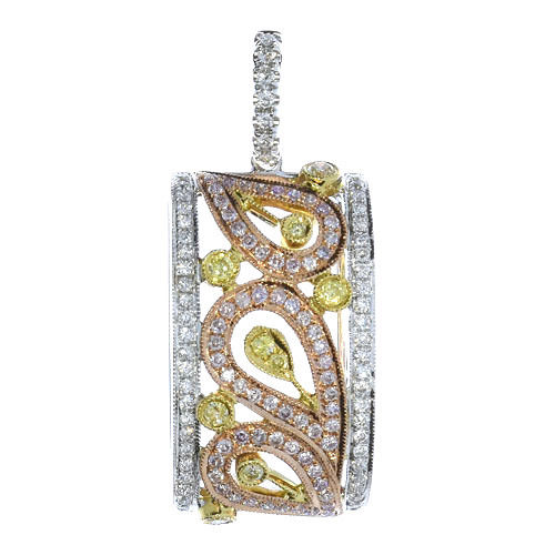 Real 0.62ct Natural Fancy Pink & Yellow Diamonds Pendant Necklace 18K Rose Gold