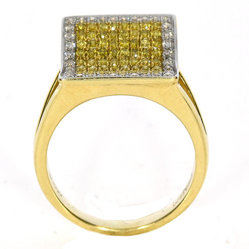 Real 1.09ct Natural Fancy Yellow Diamonds Engagement Ring 18K Solid Gold 6G