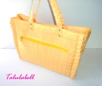 Yellow Ruffle Tote Bag Php. 480.00 Top View