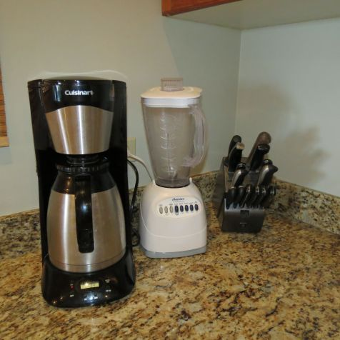 Coffeemaker, Blender, and knives in our kitchen