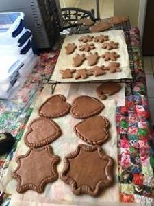 Honey Gingerbread cookie baked and cooling