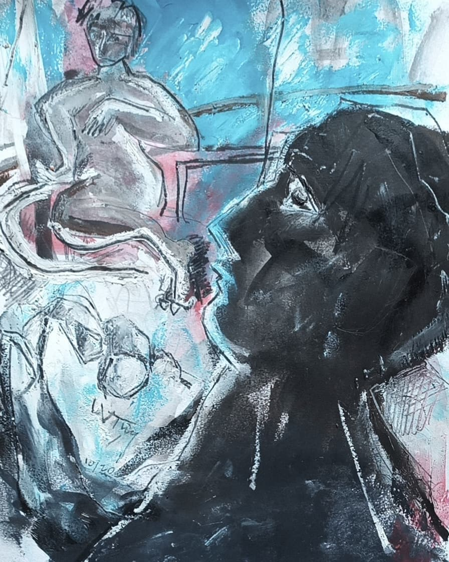 À l'atelier - Encre, huile, pastel gras et mine noire sur papier - 32x25 cm - 2020#lưuvăntâm  #dessincontemporain  #artcontemporain  #papier #oeuvresurpapier #contemporarydrawing  #contemporaryart  #workonpaper #artforsale
