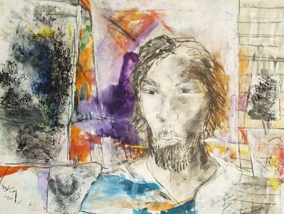 Auto-portrait dans l'atelier de Sandrine - techniques mixtes sur papier - 37x48 cm- 2018-2020#lưuvăntâm  #dessincontemporain  #artcontemporain  #papier #oeuvresurpapier #contemporarydrawing  #contemporaryart  #workonpaper #artforsale