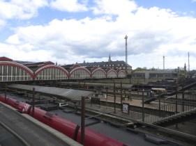 Copenhagen train stations with Tivoli Gardens in the background
