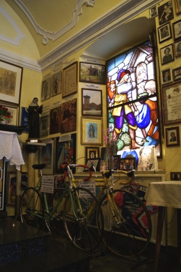 Inside the church is a shrine to cycling