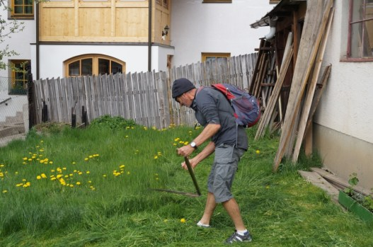 Rich working the scythe