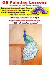 9-3-2015, Oil Panting Lessons, Peacock, Tamaqua Community Arts Center, Tamaqua
