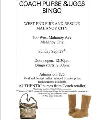 9-27-2015, Coach Purse & Uggs Bingo, West End Fire and Rescue, Mahanoy City