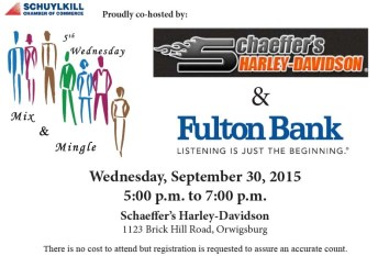 9-30-2015, Mix and Mingle, Schuylkill Chamber of Commerce, Schaeffer's Harley Davidson, Orwigsburg