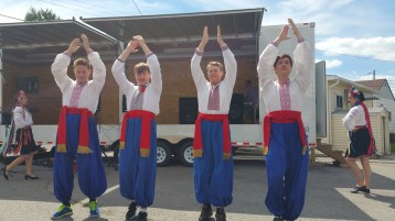 Kazka Ukrainian Folk Ensemble, during Parish Picnic, St. Mary's Ukrainian Catholic Church, McAd (46)
