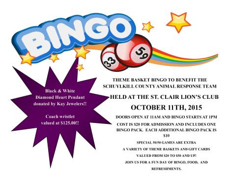 10-11-2015, Theme Basket Bingo, benefits Schuylkill County Animal Response Team, St. Clair Lion s Club, St. Clair
