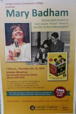 10-15-2015, Actress Jean Louise Scout Finch will read To Kill A Mockingbird, Scheller-Woodman Center, LCCC, Schnecksville