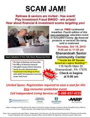 10-15-2015, Scam Alert Seminar fore Retirees and Seniors, Shenandoah Senior Community Center, Shenandoah
