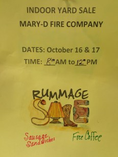 10-16, 17-2015, Indoor Yard Sale, Mary D Fire Company, Mary D