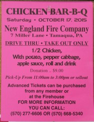 10-17-2015, Chicken Barbecue, New England Fire Company, Walker Township