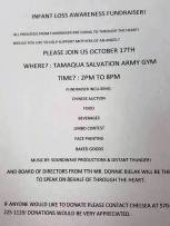 10-17-2015, Infant Loss Awareness Fundraiser, Tamaqua Salvation Army, Tamaqua