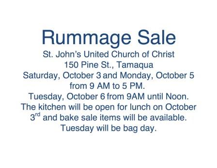 10-3, 5, 6-2015, Rummage Sale, St. John's United Church of Christ, Tamaqua