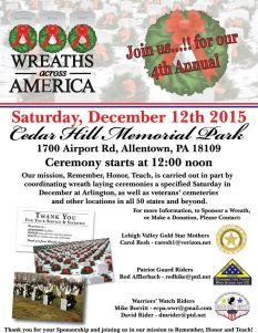 12-12-2015, Wreaths Across America, Cedar Hill Memorial Park, Allentown