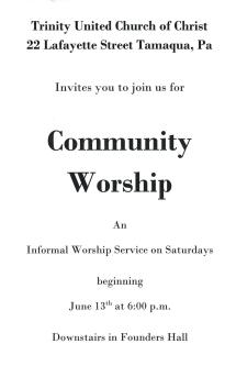 Trinity UCC Community Worship - Saturday Nights, Tamaqua