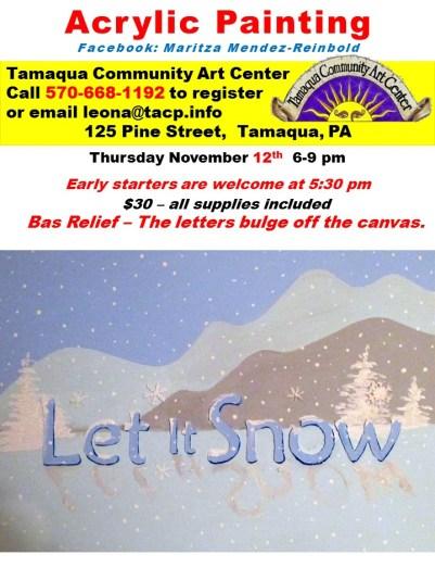 11-12-2015, Acrylic Painting Class, Bass Relief, Tamaqua Community Arts Center, Tamaqua