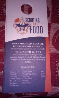 11-14-2015, Scouting for Food, Tamaqua Boy Scouts, Tamaqua Area, Panther Valley Area