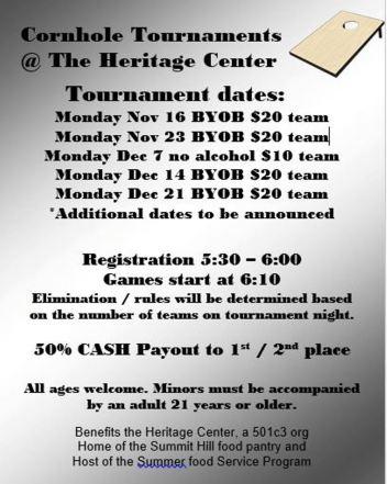11-16-2015, Cornhole Tournament, Summit Hill Heritage Center, Summit Hill