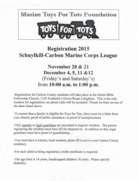 11-20, 21, 12-4, 5, 11, 12-2015, Carbon County Toys For Tots Registration, Schuylkill Carbon Marine Corps League, Salem Bible Fellowship Church, Lehighton