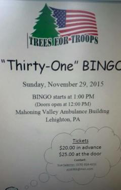 11-29-2015, Thirty One Bingo, Mahoning Valley Ambulance Building, Lehighton