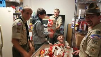 11-5-2015, Barnesville Boy Scout Troop 725 Sort Food Donations, Tamaqua Salvation Army, Tamaqua (12)