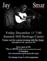 12-11-2015, Jay Smar performs, Summit Hill Heritage Center, Summit Hill