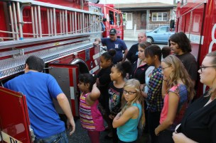 Tamaqua Salvation Army Youth Group Visits South Ward Fire Company, Tamaqua, 10-8-2015 (27)