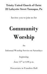 Trinity UCC Community Worship - Saturday Nights, Tamaqua
