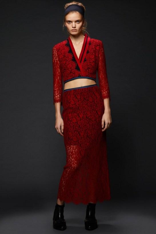 Preen by Thornton Bregazzi Red Lace - Pre-Fall 2015