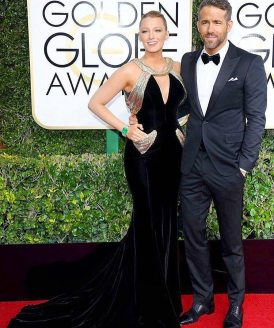 Bake Lively in Versace with Ryan Reynolds Golden Globes 2017