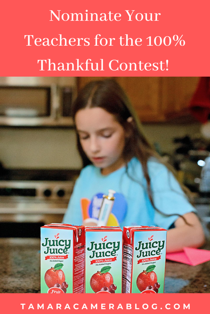#ad Nominate your teachers juicyjuice.com/thankful to win over $30,000 in prizing for the 100% Thankful Contest! #100Thankful #JuicyJuiceCrew