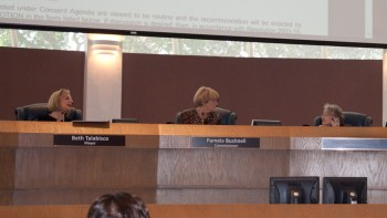 Atkins-Grad takes a phone call while the Vice Mayor speaks