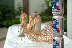 Last year's Festivus Pole next to nativity scene - photo by Tamarac Talk