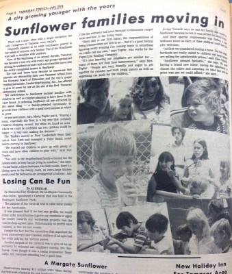An article from Tamarac Topics newspaper in 1972 talks about the Sunflower Community.  Click to make larger.